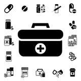 Médecins Bag avec l'icône croisée ou médicale de vecteur de valise Images libres de droits