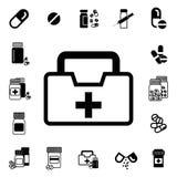 Médecins Bag avec l'icône croisée ou médicale de vecteur de valise Photographie stock libre de droits