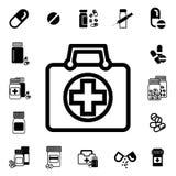 Médecins Bag avec l'icône croisée ou médicale de vecteur de valise illustration stock