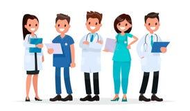 Médecins d'équipe sur un fond blanc Illustration de vecteur dans un fla Photographie stock libre de droits