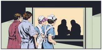 Médecins dans des masques chirurgicaux Couloirs d'hôpital Illustration courante photo stock