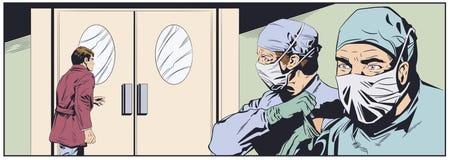 Médecins dans des masques chirurgicaux Couloirs d'hôpital Illustration courante images stock