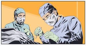 Médecins dans des masques chirurgicaux Salle d'opération Illustration courante images stock