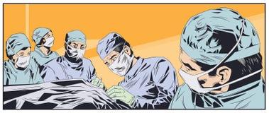 Médecins dans des masques chirurgicaux Salle d'opération Illustration courante photographie stock