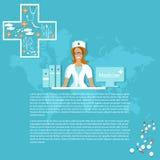 Médecins de sourire de pilules d'infirmière de médecine et de pharmaceutiques Images libres de droits