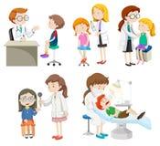 Médecins donnant le traitement aux patients illustration libre de droits