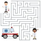 Médecins et labyrinthe d'ambulance pour des enfants Images libres de droits