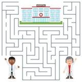 Médecins et labyrinthe d'hôpital pour des enfants illustration libre de droits