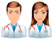 Médecins mâles et féminins. illustration de vecteur