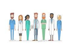 Médecins médiaux Team Work Thin Line de groupe illustration de vecteur