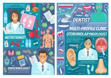 Médecins multi de clinique de profil, matériel médical illustration stock