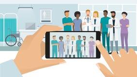 Médecins posant à l'hôpital illustration de vecteur