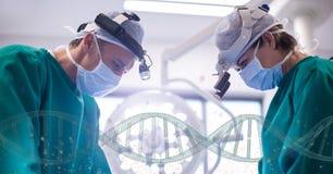 Médecins se tenant avec des brins d'ADN 3D Image stock