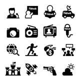 Médias et ensemble d'icône d'actualités Photographie stock libre de droits