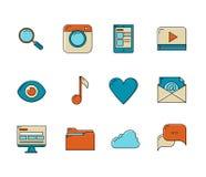Médias et icônes de communication Images stock