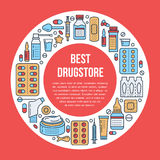 Médical, calibre d'affiche de pharmacie Dirigez la ligne les icônes, illustration des formes galéniques - comprimé, capsules, pil illustration libre de droits