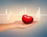 Médical et le concept de soins, coeur rouge dans la main femelle avec ECG Photo libre de droits
