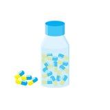 médicaments La fiole avec des capsules Capsule jaune bleue Bouteille de médecine illustration stock