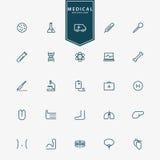 25 médicaux et icônes minimales d'ensemble d'hôpital illustration libre de droits