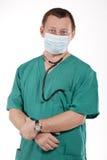 Médico con el estetoscopio. Foto de archivo
