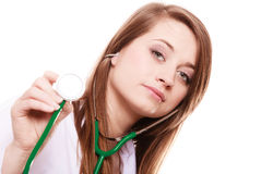 Médico Doctor de la mujer en capa del laboratorio con el estetoscopio Foto de archivo