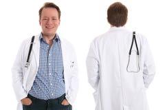 Médico, frente y parte posterior felices Fotos de archivo