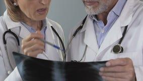 Médico geral que consulta com o pulmonologist sobre o raio X dos pulmões dos pacientes filme