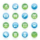 Médico, hospital e iconos del cuidado médico Imagen de archivo libre de regalías