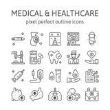 MÉDICO: Iconos del esquema, pictograma y colección del símbolo libre illustration