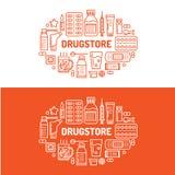 Médico, ilustração da bandeira da drograria Linha tabuleta do vetor da farmácia dos ícones, cápsulas, comprimidos, vitaminas dos  ilustração stock