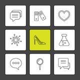médico, saúde, navegação, conversação, ícones do eps ajuste o vec ilustração royalty free