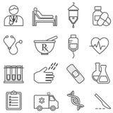 Médico, salud, línea iconos de la atención sanitaria ilustración del vector