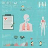 Médico y atención sanitaria infographic, infograph del sistema respiratorio Imagen de archivo
