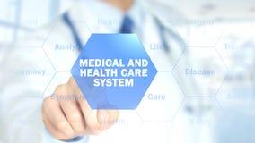 Médico y sistema sanitario, doctor que trabaja en el interfaz olográfico, movimiento imagenes de archivo