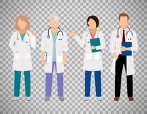Médicos en fondo transparente