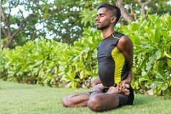 Médicos novos do homem da ioga que fazem a ioga na natureza Homem indiano asiático dos iogues na grama no parque Ilha de Bali Imagem de Stock Royalty Free