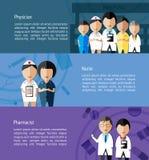 Médicos tais como o doutor, a enfermeira, e o farmacêutico e os cuidados médicos Fotografia de Stock
