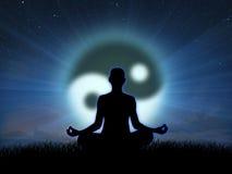Méditation au coucher du soleil Images libres de droits