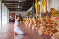 Méditation bouddhiste de nonnes sur le temple de la Thaïlande Photos libres de droits