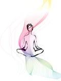 Méditation de femme avec la ligne mobile Photos libres de droits