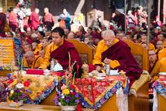 Méditation des moines bouddhistes tibétains Photos stock