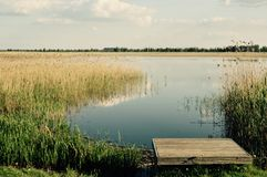 Méditation magique de lac et photo de détente Photo stock