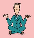 Méditation/yoga d'affaires au travail Illustration Libre de Droits