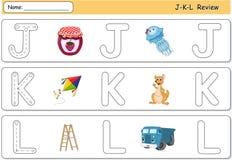 Méduses, confiture, cerf-volant, kangourou, camion et échelle de bande dessinée Alphab Photo libre de droits