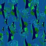 Méduses de vecteur, composition florale, modèle sans couture, lignes blanches, fond bleu simple illustration libre de droits