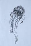 Méduses, illustration noire de crayon Photographie stock libre de droits