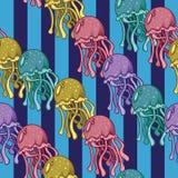Méduses multicolores modèle avec des méduses Image stock