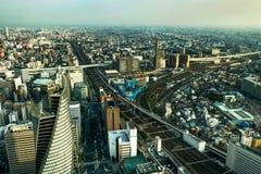 Mégalopole de Nagoya de vue de panorama d'horizon de place intérieure photo stock