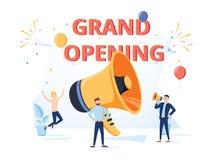 Mégaphone énorme avec la bulle de la parole d'ouverture officielle haut-parleur Ba illustration stock