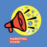 Mégaphone avec l'icône de vecteur de concept de puissance de vente Images stock